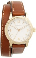 Burberry Women's 'Utilitarian' Round Leather Wrap Watch, 30Mm