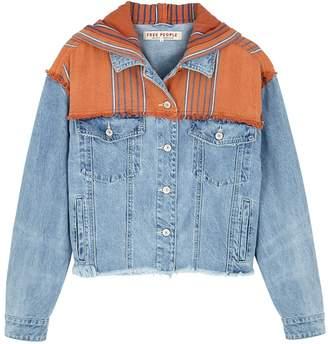 Free People Baja Blue Hooded Denim Jacket
