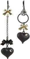 Betsey Johnson Heart/ Bow Drop Earrings