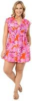 Lauren Ralph Lauren Plus Size Oceania Floral Farrah Dress 100% Crushed Cotton Cover-Up