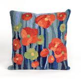 """Liora Manne Frontporch Poppies 18"""" Pillow - Denim"""