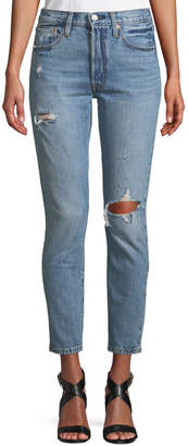 Levi's Premium 501 Distressed Ankle Skinny Jeans
