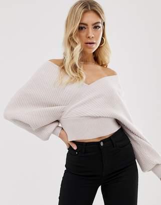 Parallel Lines off shoulder wrap front jumper in blush-Beige