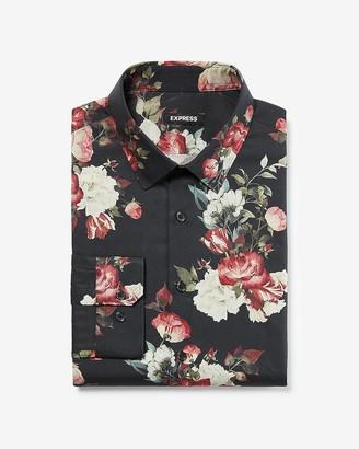 Express Extra Slim Floral Cotton Dress Shirt