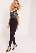 Missguided High Rise Mom Jeans Black
