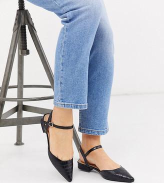 Raid Wide Fit Bonita flat shoes in black croc