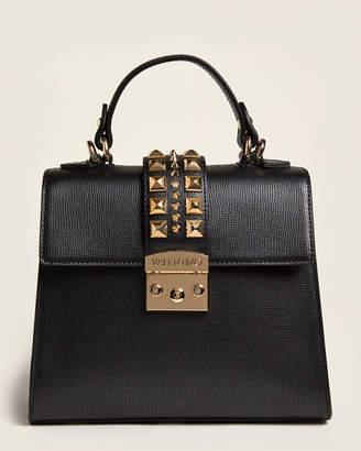 Mario Valentino Valentino By Black Cleo Studded Leather Satchel