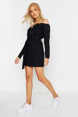 boohoo Off The Shoulder Broderie Anglais Tie Waist Dress