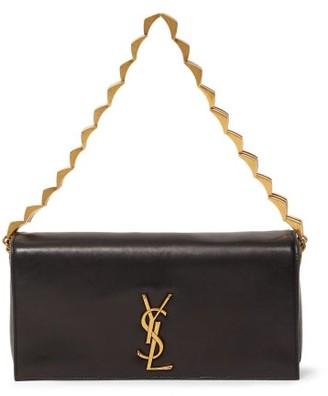Saint Laurent plaque Leather Shoulder Bag - Black
