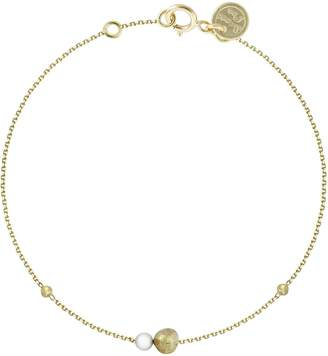 Sweet Pea Pearl and Bead Bracelet - Yellow Gold