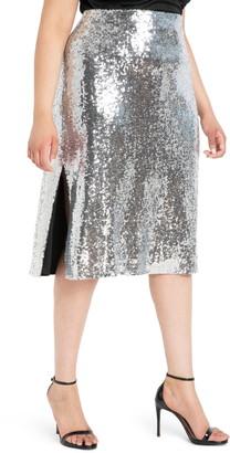 ELOQUII Sequin Side Slit Skirt