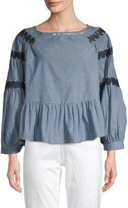 Raga Embellished Raglan-Sleeve Denim Top