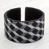 Guatemala Beaded Leather Cuff Bracelet in Taupe and Grey, 'Shadowed Diamonds'