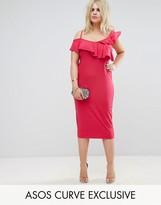 Asos Ruffle Asymmetric Bodycon Dress