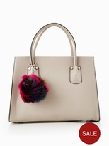 Very Large Tote With Pom Poms - Grey