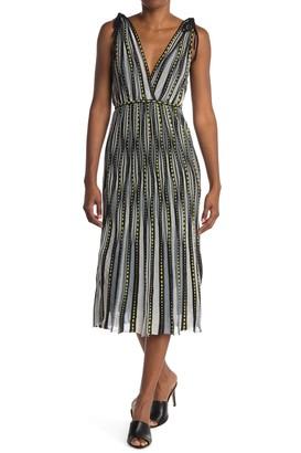 M Missoni Patterned Plunge Neck Midi Dress