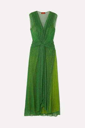 Missoni Twist-front Metallic Open-knit Maxi Dress - Green