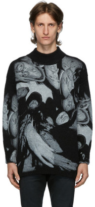 424 Black Mohair Oversized Crewneck Sweater