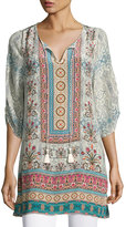Tolani Evie Long Printed Tunic, Ivory, Plus Size
