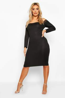 boohoo Plus Lace Detail Bardot Midi Dress