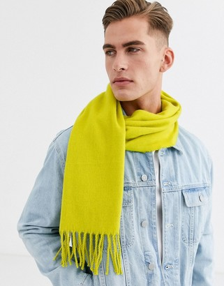 ASOS DESIGN scarf in bright olive with tassels