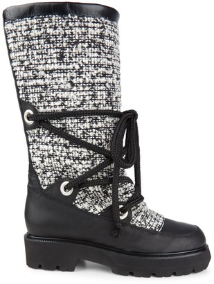 Montelliana 1965 Mary Tweed & Leather Mid-Calf Boots