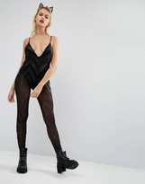 Jaded London Halloween Plunge Catsuit With Glitter Chevron Mesh