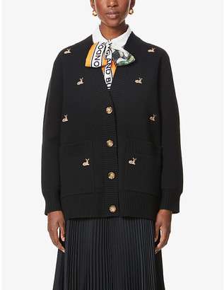Burberry Adrianna graphic-embroidered knitted cardigan