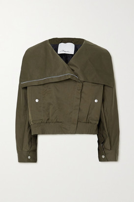 3.1 Phillip Lim Padded Cotton-blend Canvas Bomber Jacket - Army green