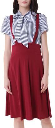 Belle Poque Women's High Waist Flared Overall A-Line Suspender Skirt Pinafore Dress Wine Size 2XL BP1008-2