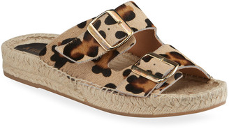 Allegra James Sage Leopard-Print Fur Dual Buckle Slide Sandals