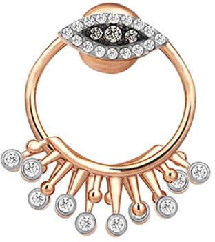 Kismet by Milka 14k Rose Gold Eye Eternal Vision Round Earring Jacket in Diamonds, Single