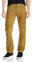 Southpole Men's Twill Pants Long Destructed Ripped and Repaired in Solid Colors