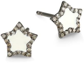 14K Black Rhodium Silver & Diamond Star Stud Earrings