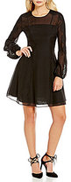 Kay Unger Lace Neck Illusion Sleeve Fit-and-Flare Dress