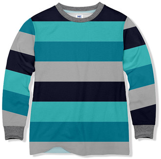 Highfive Crew HighFive Crew Boys' Tee Shirts - Turquoise & Gray Stripe Long-Sleeve Tee - Boys
