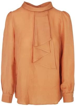 Haris Cotton Linen Blend Blouse With Tie Effect - Terra
