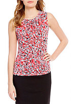 Calvin Klein Geometric Triangle Print Pleat Neck Matte Jersey Shell