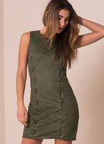 Missy Empire Avril Khaki Suede Eyelet Detail Bodycon Dress