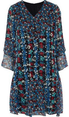 Anna Sui Ruffled Floral-print Silk-blend Georgette Mini Dress