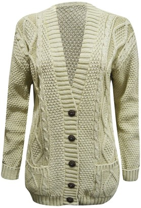 Generic Women Ladies Long Sleeve Button Top Chunky Aran Cable Knitted Grandad Cardigan (S/M (8-10) Stone)