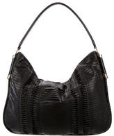 Jimmy Choo Snakeskin-Accented Pleated Leather Hobo