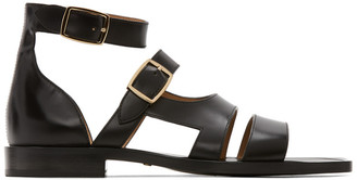 Fendi Black Leather Sandals