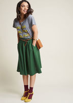 ModCloth Breathtaking Tiger Lilies Midi Skirt in Stem Green in 4X - Full Skirt Long