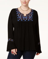 American Rag Trendy Plus Size Embroidered Peasant Top, Only at Macy's
