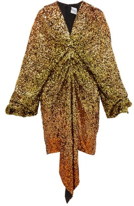 Halpern Gathered Degrade-sequin Dress - Gold