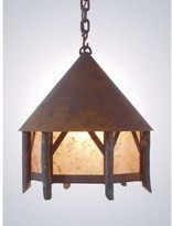 Mica Campromise 1 - Light Lantern Geometric Pendant with Wood Accents Steel Partners Finish: Rust, Shade / Lens: Amber