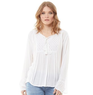 Onfire Womens Floaty Bow Neck Blouse White