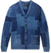 Beams Plus Patchwork Indigo-Dyed Cable-Knit Cotton Cardigan