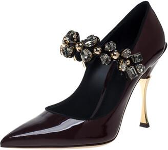 Dolce & Gabbana Burgundy Patent Leather Mary Jane Crystal Embellished Pumps Size 37